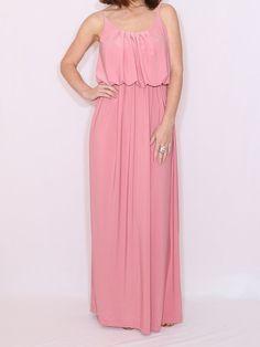 Light pink maxi dress Pink Bridesmaid dress Spaghetti strap