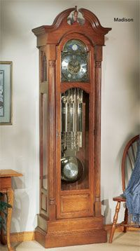 The Madison Grandfather Clock kit offers your choice of mechanical movement, dial, pendulum and weight shell set (each sold separately). The swan neck top and pedestal base add a timeless feel to this beautiful clock. The half-round reeded full columns and antique brass hardware finish the clock perfectly.