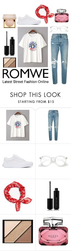 """""""ROMWE T-SHIRT"""" by nannalarsen1308 ❤ liked on Polyvore featuring Levi's, Vans, rag & bone, Marc Jacobs, Elizabeth Arden, Gucci and Stila"""