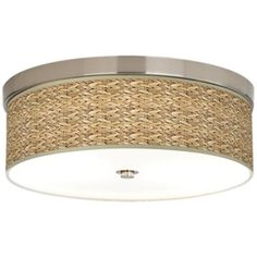 You'll love adding the handmade weaved look of the Seagrass Bronze Energy canvas shade on this energy efficient flushmount ceiling light to your room. Style # at Lamps Plus. Fancy Ceiling Lights, Ceiling Light Fixtures, Ceiling Fans, Flush Mount Ceiling, Do It Yourself Home, Drum Shade, Energy Efficiency, Lamp Light, Beach Lighting