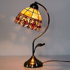 40W Artistic Tiffany Table Light with Floral Stained Glass Shade in Arc Arm Style - GBP £ 100.91