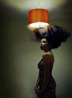 365 Photo Challenge - Day 33 - 365 Day Project - Photographer Sarah Wearn - self portrait 2014 - creep, moody, surreal fine art portrait photography. Woman standing under light shade. Long flowing hair. Creative, strange art