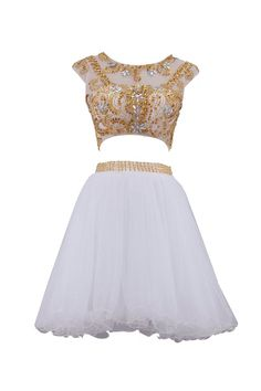 SeasonMall Women's Short Prom Dresses A Line Two Piece Tulle Homecoming Dresses Size 0 US White