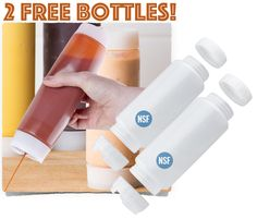 Two Free In/Out Condiment Bottles... I'm getting mine.  Get yours!  Fill on one end... Squirt out on the other... Booooya!