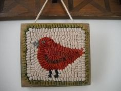 Mounted Hanging Primitive Hooked Rug Little Red by wooltown