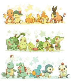 All of the starter Pokemon in their corresponding type group and by generation from first to fifth.  Fire: charmander, cyndaquil, torchic, chimchar, tepic.    Grass: bulbasaur, chikorita, treecko, turtwig, snivy.    Water: squirtle, totodile, mudkip, piplup, oshawott.