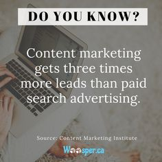 #Contentmarketing is undoubtedly the most cost-effective way to promote your #business. Instead of wasting a lot of money on #paidsearch, you should consider creating high-quality, relevant #content, as it can triple your #leadgeneration.  Need any help in content marketing? Shoot us an email at info@woosper.ca   #ContentCreator #contentwriting #contentcreation #contentstrategy  #contentmarketingagency #contentmarketingstrategy #contentcreator #contentwriting
