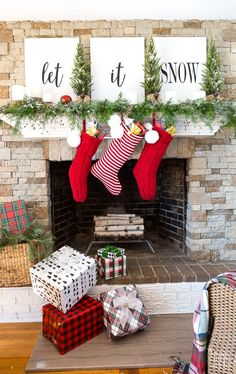 f3a1a34c8ea Free Printable Christmas mantel decorating with greenery.  LetitSnow   HolidayMantel  Fireplace  Greenery