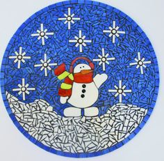 Snowman Stained Glass Mosaic by UniqueConceptInGlass on Etsy
