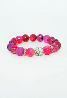 Faceted Beaded Stretch Bracelet More Colors Available
