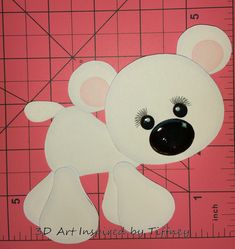 B065 3D Hand Cut Paper Piecing Arctic Polar Bear Zoo Scrapbooking Cardmaking - Pre-Made Pages & Pieces