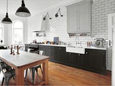 Stunning Black, White and Light Grey Kitchen