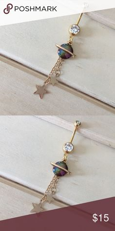 Gold Saturn Belly Button Ring Condition: Brand New Metal : Gold Plated Surgical Steel Size: 14 Gauge ✔️Bundle your likes for a private offer. If you have any questions please ask ❌No trades, sorry. -Belly Button Ring Navel Piercing 14G Surgical Steel Body Jewelry New- Jewelry