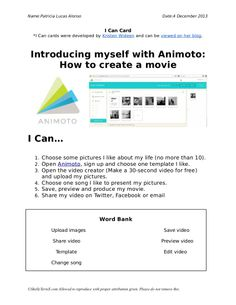 My I Can Card to use Animoto