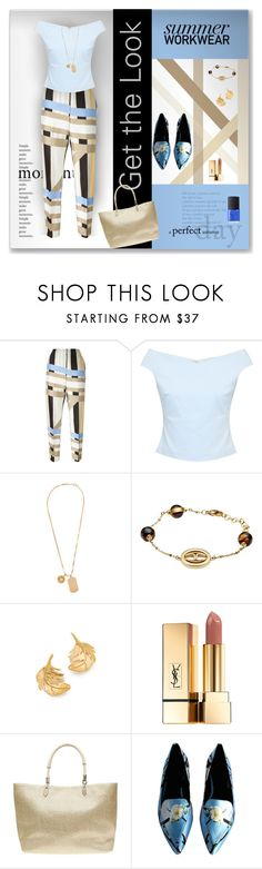 """""""Geometric print pants"""" by sheryl-lee ❤ liked on Polyvore featuring MSGM, Ted Baker, Versace, Just Cavalli, Alex Monroe, Yves Saint Laurent, Dorothy Perkins and NARS Cosmetics"""