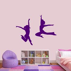 Set of Dancers Wall Decals - Tumblers, Jumpers Cheer - Nursery and Kids Room Stickers Graphics Kids Room Wall Decals, Old Room, Colorful Decor, Girls Bedroom, Wall Stickers, Wall Decor, Nursery, Dancers, Sports Decals