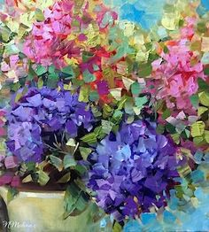 """Party Mix Hydrangeas and Delphiniums ~ Flower Painting by Nancy Medina""  original fine art by Nancy Medina My favourite flowers !!!"