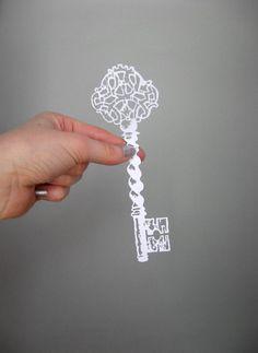 Paper-cut Scherenschnitte, Valentines Day, Ornate Antique Skeleton Key  in White. $16.00, via Etsy.