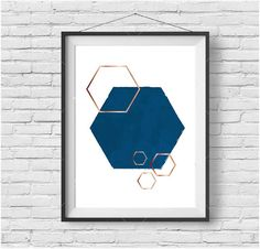 Minimalist Print, Digital Art, Hexagon Printable Art, Snorkel Blue, Copper Art, Rose Gold Wall Decor, Blue Home Decor, Geometric Print