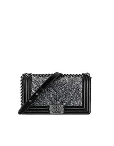 boy CHANEL flap bag, python, chevron embroideries & ruthenium metal-black & silver - CHANEL
