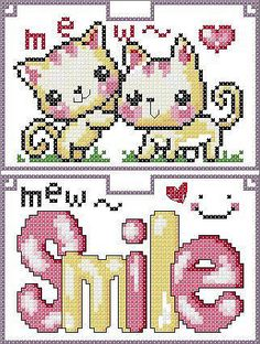 Cute Cats Hama Perler Bead Pattern or Cross Stitch Chart