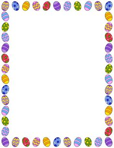 Printable Easter egg border. Free GIF, JPG, PDF, and PNG downloads at http://pageborders.org/download/easter-egg-border/