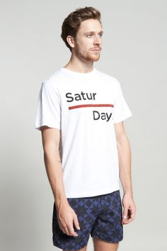 Shop for Saturdays Surf NYC Tees & Singlets for Men | Broken Bar in White | Incu
