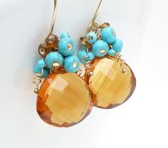 Gold turquoise earrings, gold wire wrap jewelry handmade turquoise gold quartz earrings, 14kt gold filled brown gemstone earrings. $75.00, via Etsy.