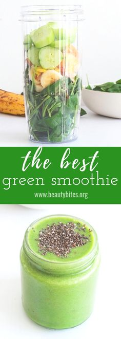 The best green smoothie ever! This healthy breakfast recipe is made with spinach, banana, ginger and a few other easy to find fruits and vegetables! It will help detox your body and make you feel great. Drinking this healthy smoothie daily can also h Smoothie Fruit, Best Green Smoothie, Good Smoothies, Green Smoothie Recipes, Fruit Juice, Smoothie Detox, Juice Diet, Cleanse Detox, Fruit Drinks