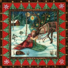 Yule/Winter Solstice : Cards by Occasion / Recipient : Home : Pagan/spiritual and fairy/fantasy greeting cards, prints and gifts at Moondragon Christmas Images, Christmas Art, Winter Christmas, Magical Christmas, Christmas Decorations, Xmas, Fantasy Kunst, Fantasy Art, Yule Goat