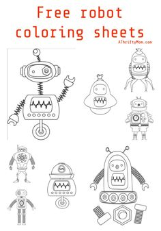 Print off these Free Robot Coloring Pages for kids of all ages. These would be fun for some stress free coloring or for a school unit. Free Kids Coloring Pages, Coloring Pages For Kids, Free Coloring, Colouring, Printable Shapes, Free Printable Stickers, Free Fun, Love Is Free, Free Alphabet Printables