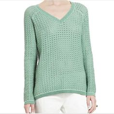 """BCBG Dusty Jade """"Kent"""" V-neck Knit Sweater NWT BCBGMAXAZRIA """"Kent"""" v-neck sweater in the color dusty jade which resembles a soft minty/sage color shown best in first 3 pics...slightly open knit with a hi-lo hem with front measuring approx.25"""" & back 28""""...95%cotton & 5%silk...this sweater can easily fit a S-M depending on desired fit..for a not so slouchy look this sweater would fit a true medium with bust measurements 34.5-36.5"""", waist 29"""", & hips approx.39""""...this sweater would look great…"""