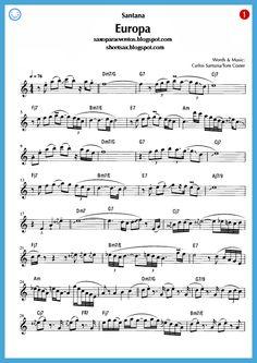 "Free sheet music for sax: ""Europa"" - Santana score and playalong (Sheet music free) Alto Sax Sheet Music, Jazz Sheet Music, Violin Sheet Music, Song Sheet, Sheet Music Pdf, Sheet Music Notes, Piano Music, Jazz Songs, Music Songs"