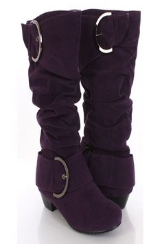 This very sexy mid calf boots is the perfect addition to any casual wardrobe!  Wear it with your favorite skinny jeans or leggings and you will get the attention!  Featuring faux suede, round closed toes, buckle strap decor, ruched details, side zipper, cushioned footbed, and finished with traction soles.  Approximately 1 1/4 inch heels, 12 1/2 inch shaft, and 14 1/2 inch circumference.