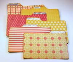 $17 Recipe Divider Cards of Formica 4 x 6 Custom Red and Yellow Vintage Style Prints