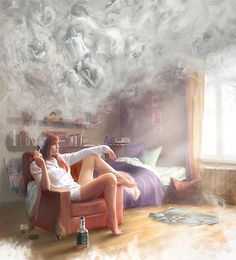 Image shared by Lucas Loiola. Find images and videos about girl, smoke and illustration on We Heart It - the app to get lost in what you love. Smoke Art, Up In Smoke, Creepy Images, Psy Art, Arte Obscura, Arte Pop, Smoking Weed, Girl Smoking, Smoking Room
