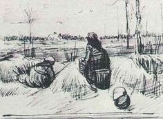 Vincent van Gogh: Two Peasant Women, Digging Nuenen: August, 1885 (Otterlo, Kröller-Müller Museum)