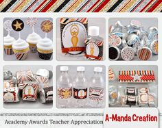 Academy Awards Teacher Appreciation Printable Gift Bundle, includes 17 different printables for teacher appreciation gifts, end of the school year or just because!  Cute movie themed phrases like, the award for best teacher goes to..you, You're a Star, and more!