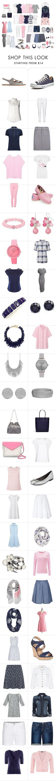 """""""Warm Weather Casual Capsule Wardrobe in White, Pink. Grey and Blue"""" by tracy-gowen ❤ liked on Polyvore featuring Chloé, Converse, O'2nd, Steilmann, Polo Ralph Lauren, Aventura, Pinko, Love Moschino, TOMS and Palm Beach Jewelry"""