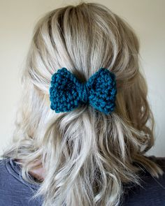 """Cute heatless five minute hair style! Add this adorable bow to your """"do"""" for a nice pop of color. Takes no time at all and looks lovely!"""