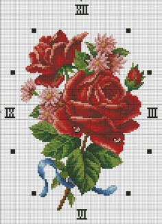 """Photo from album """"часы,вышивание"""" on Yandex. Cross Stitch Love, Cross Stitch Flowers, Cross Stitch Designs, Cross Stitch Patterns, Cross Stitching, Cross Stitch Embroidery, Rose Clock, Embroidery Patterns Free, Hobbies And Crafts"""