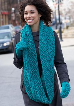 Free Pattern: King Street Cowl & Mittens by Bernat Design Studio