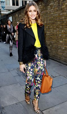 Florals and Leopard   Olivia Palermo demonstrated her effortless pattern-pairing skills with bright floral TopShop pants and Mulberry leopard pumps.
