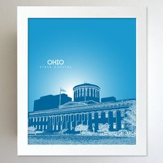 Ohio Skyline State Capitol Landmark - Modern Gift Decor Art Poster 8x10. $20.00, via Etsy.