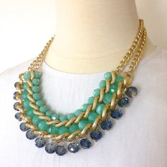 Chunky Necklace Statement Necklace Choker Necklace for Women Turquoise Jewelry with Gold Chain Summer Fashion Jewelry - Free Shipping US on Etsy, $22.00