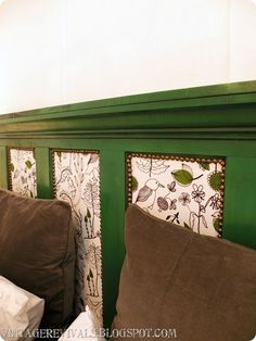 crown molding headboard | headboard detail (from previous pin). Made from shaved off door ...
