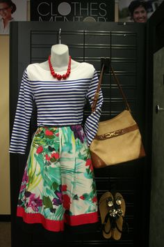 Adorable spring outfit from Clothes Mentor Arlington (only $26!). Tres Gammine! Mix up your wardrobe this spring by mixing patterns and prints with bright pops of color.