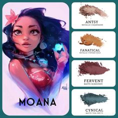 #moana inspired #eyemakeup: #metallic champagne (antsy) and vintage gold (fanatical), paired with #matte burgundy (fervent) and teal green (cynical). Build your own quad at www.taniaslashes.com #younique #pressedeyeshadow #compacteyeshadow #cartoon #princess #taniaslashes