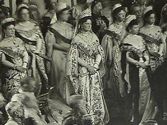 ROMANOV JEWELRY ~ Marie Pavlovna, Empress Alexandra, , Marie Feodorovna, and Grand Duchess Xenia, in their imperial court dress wearing their tiaras. The image was taken in 1905, Opening of Russian Parliament ~