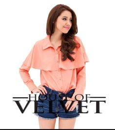 Coral Poly Buttondown Top for only P400!  Viber or sms us at 09368786778